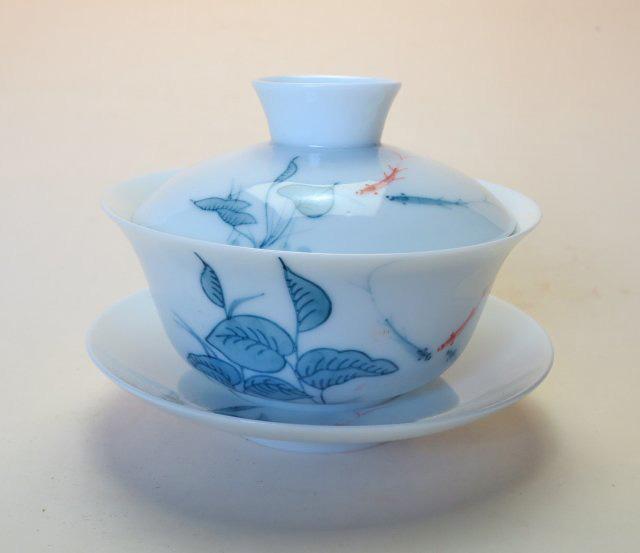 【中国茶器】手描き蓋碗水草/魚