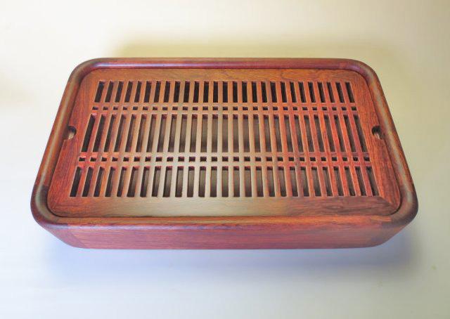 【中国茶具】花梨製長方形角丸茶盤