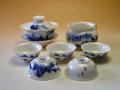 【中国茶器セット】景徳鎮蓋碗茶器セット(山水)