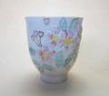 【中国茶具】桜浮彫手描き彩色茶杯
