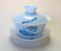 【中国茶器】手描き蓋碗蓮花青