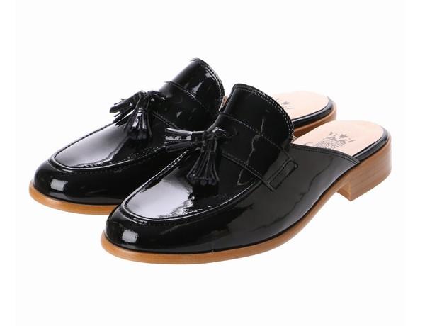 タッセルローファーミュール(ブラック)bontre-74504-BK【BONTRE(ボントレ)】【送料無料】<シューズ>