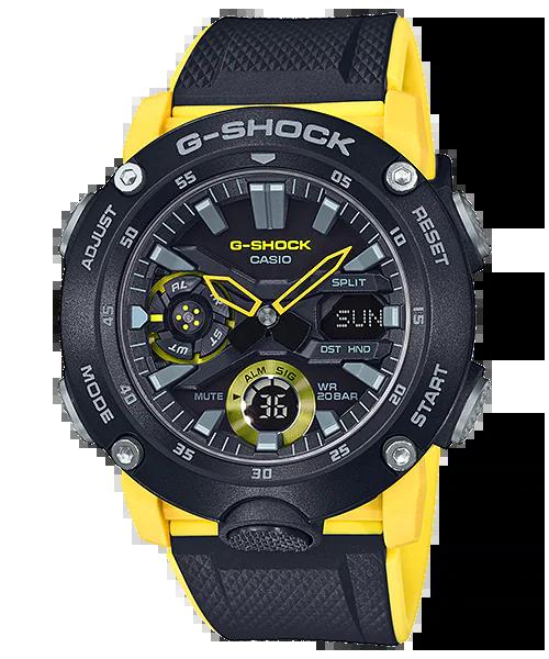G-SHOCK GA-2000-1A9JF カシオ腕時計ブラック×イエロー|カーボンコアガード