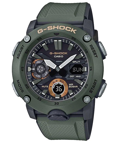 G-SHOCK GA-2000-3AJF カシオ腕時計グリーン カーボンコアガード