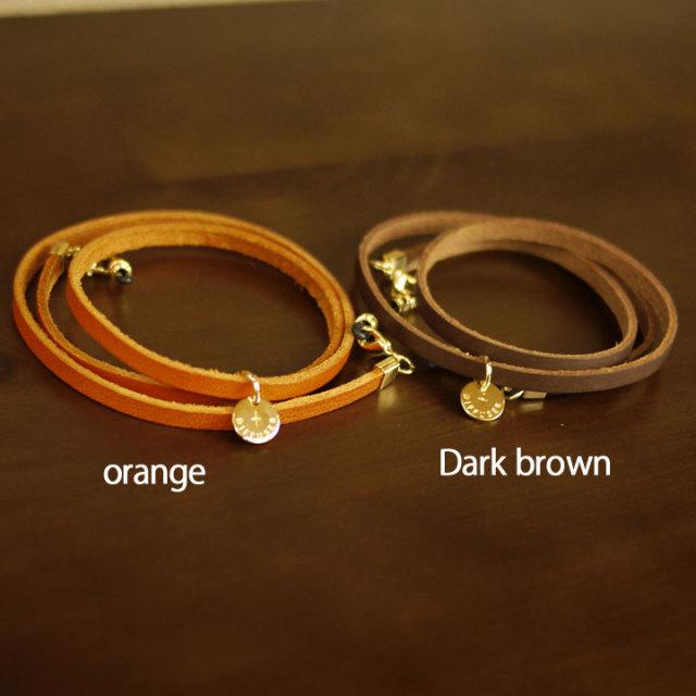 オレンジとダークブラウン|イタリアンレザー|3連ブレスレット兼グラスコード