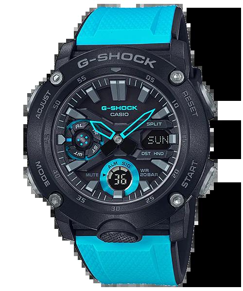 G-SHOCK GA-2000-1A2JF カシオ腕時計ブラック×ブルー|カーボンコアガード