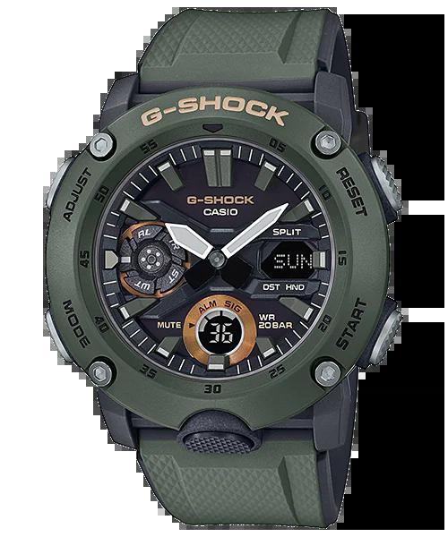 G-SHOCK GA-2000-3AJF カシオ腕時計グリーン|カーボンコアガード