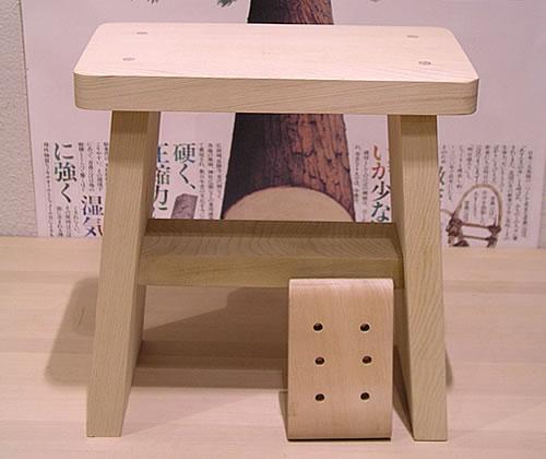 青森ヒバ/青森ひば | 風呂椅子 [320×180×高320mm] と石鹸置き