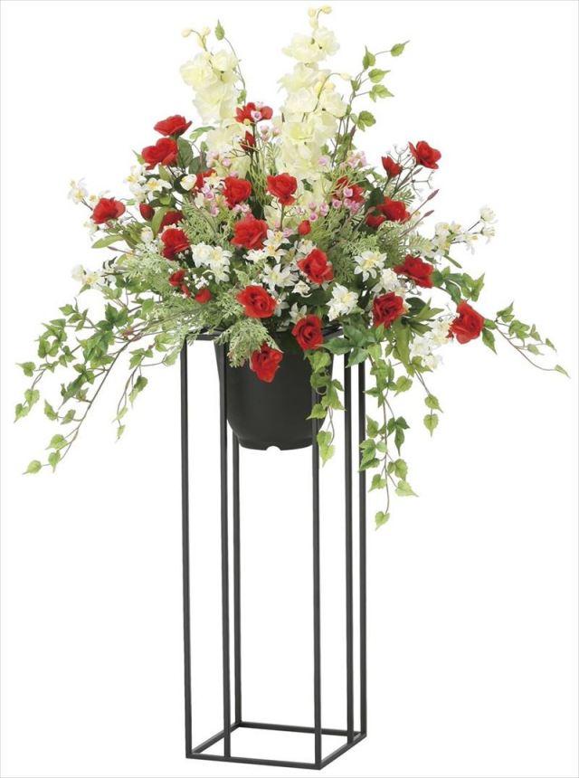光触媒 光の楽園 ローズリリースタンド高さ1.0m 【アートフラワー 造花 】 (2052a350)