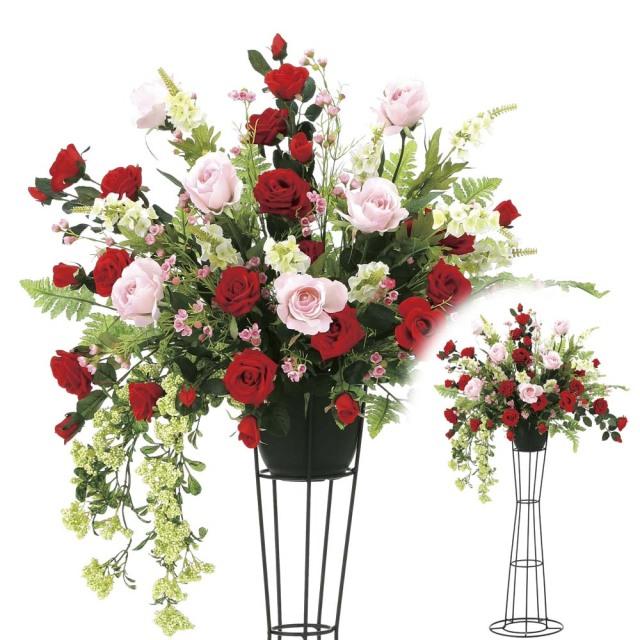 光触媒 光の楽園スカーレットローズスタンド【アートフラワー 造花 】(※ラッピング不可)(927a350)