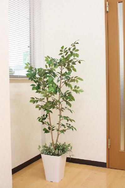 光触媒 光の楽園マウンテンアッシュ(下草付)1.3m【インテリアグリーン 人工観葉植物】(acn072)