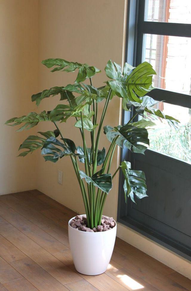 光触媒 光の楽園モンステラ 1.3m【インテリアグリーン 人工観葉植物】(acn075)