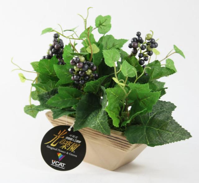 光触媒 光の楽園グレープポットS【インテリアグリーン 人工観葉植物】(acn137)