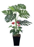 光触媒 光の楽園モンステラ&アンスリューム 95【インテリアグリーン 人工観葉植物】(203c125)
