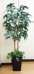 光触媒 光の楽園パキラ(下草付)1.3m【インテリアグリーン 人工観葉植物】(acn087)