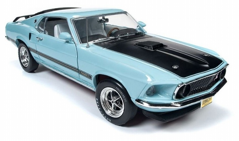 AmericanMuscle 1/18 1969 Ford Mustang Mach 1 (Class of 69) Aztec Aqua Blue