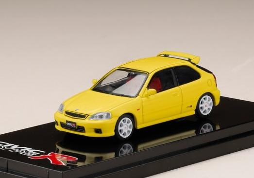 HobbyJAPAN 1/64 Honda CIVIC TypeR (EK9) 2000 Sunlight Yellow