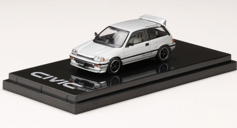 <予約 2021/5月発売予定> HobbyJapan 1/64 ホンダ CIVIC Si (AT) 1984 カスタムバージョン (ワンダーシビック) シルバーメタリック