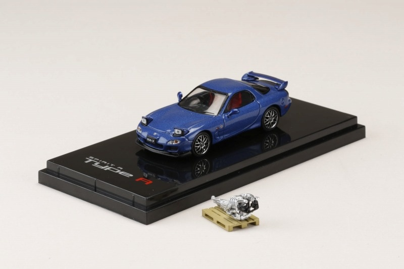 HobbyJapan 1/64 Mazda RX-7 (FD3S) SPIRIT R TYPE A With Engine Display Model Innocent Blue Mica