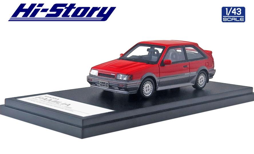 Hi-Story 1/43 MAZDA FAMILIA FULL TIME 4WD GT-X 1985 ピュアレッド/ラスターシルバーM