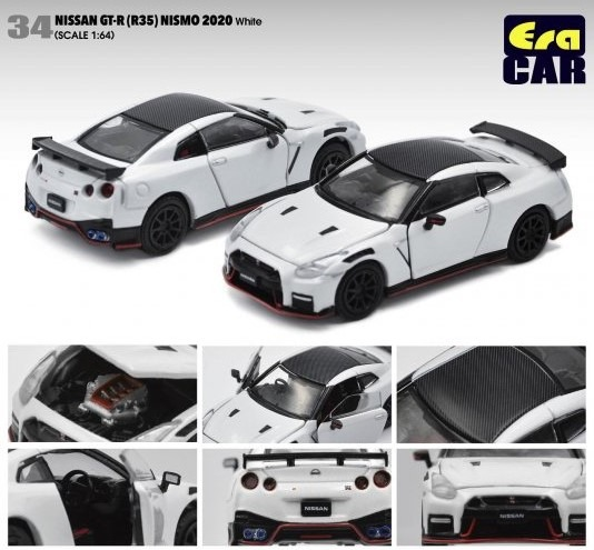 Era 1/64 Nissan GT-R(R35) ニスモNISMO 2020 ホワイト (ボンネット・ドア開閉)