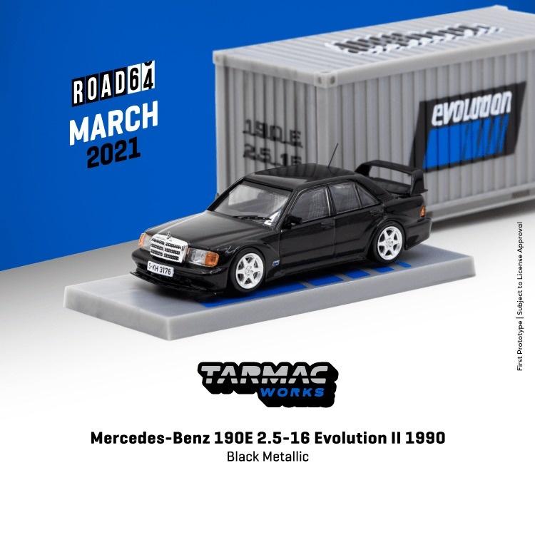 TARMAC 1/64 Mercedes-Benz 190E 2.5-16 Evolution II 1990 ブラックメタリック ※コンテナBOX付