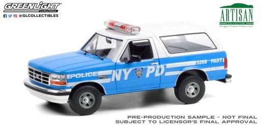 <予約 2021/3月発売予定> GREENLIGHT 1/18 Artisan Collection - 1992 Ford Bronco - New York City Police Department (NYPD)