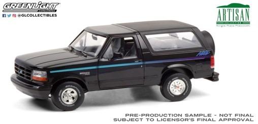 <予約 2021/3月発売予定> GREENLIGHT 1/18 Artisan Collection - 1992 Ford Bronco - Nite Edition - Black with Multicolor Stripe