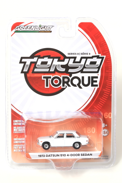 GREENLIGHT 1/64 1972 DATSUN 510 4-door Sedan White