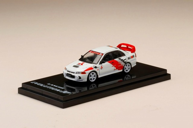 Hobby JAPAN 1/64 Mitsubishi Lancer GSR Evolution IV (CN9A) Scortia White with Rally Decal