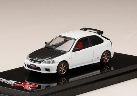 HobbyJAPAN 1/64 Honda CIVIC TypeR (EK9) Customized Ver. Carbon Bonnet Championship White