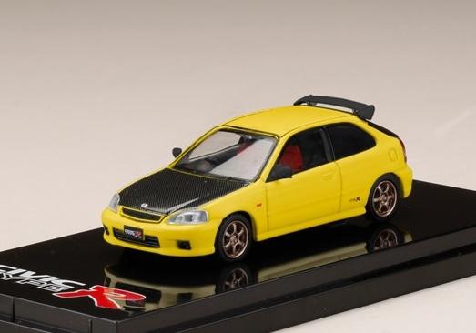 HobbyJAPAN 1/64 Honda CIVIC TypeR (EK9) Customized Ver. Carbon Sunlight Yellow