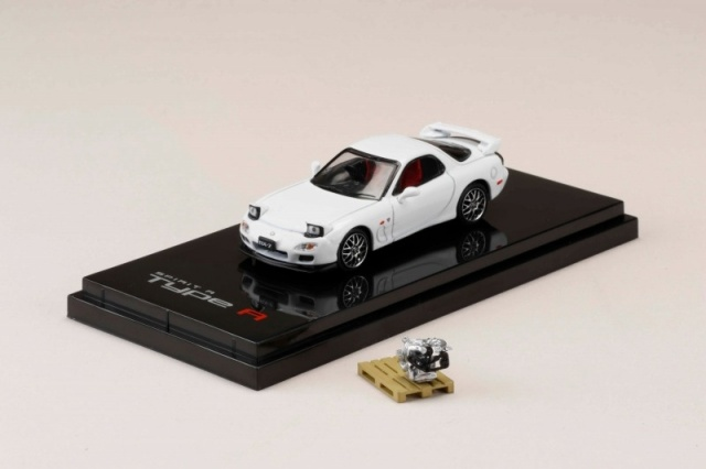 HobbyJapan 1/64 Mazda RX-7 (FD3S) SPIRIT R TYPE A With Engine Display Model Pure White
