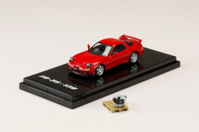 HobbyJapan 1/64 Mazda RX-7 (FD3S) TYPE RS With Engine Display Model Vintage Red