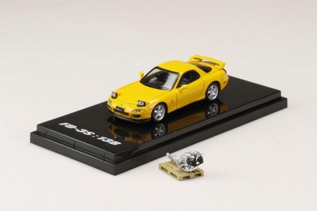 HobbyJapan 1/64 Mazda RX-7 (FD3S) TYPE RS With Engine Display Model Sunburst Yellow