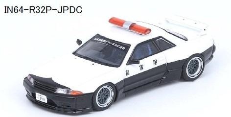 """INNO 1/64 スカイライン GT-R (R32) """"PANDEM ROCKET BUNNY""""Japan Police Livery Drift Car"""