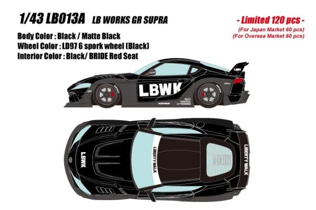 <予約 2021/8月発売予定> EIDOLON 1/43 LB ワークスGR スープラ ブラック/ マットブラック(限定120台)