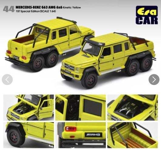 EraCAR 1/64 Mercedes Benz G63 AMG 6x6 Kinetic Yellow 1st Special Edition