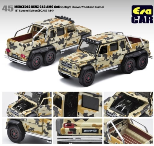 EraCAR 1/64 Mercedes Benz G63 AMG 6x6 Brown Woodland Camo 1st Special Edition