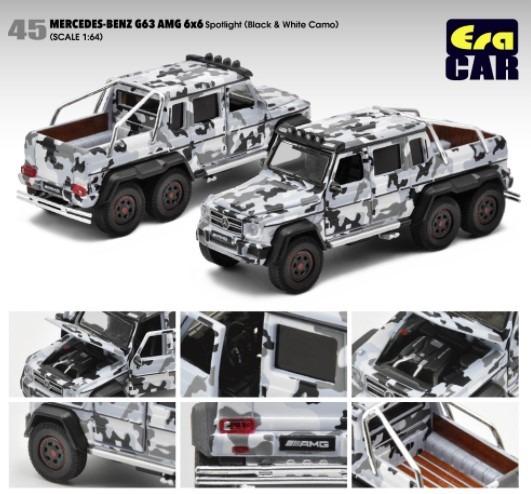 EraCAR 1/64 Mercedes Benz G63 AMG 6x6 Black and White Camo