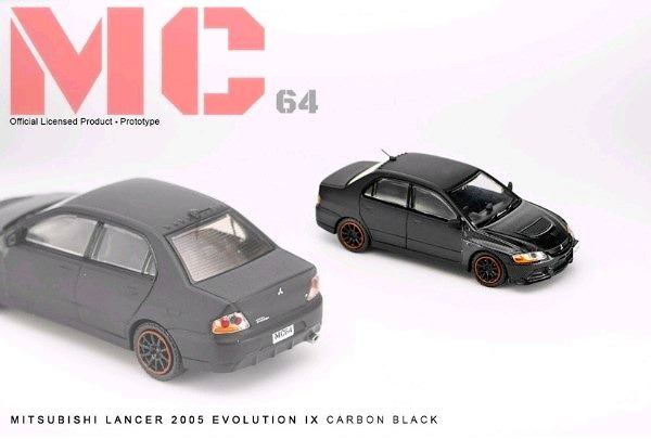 MC64 1/64 Mitsubishi LANCER EVOLUTION IX 2005 CARBON BLACK 限定600