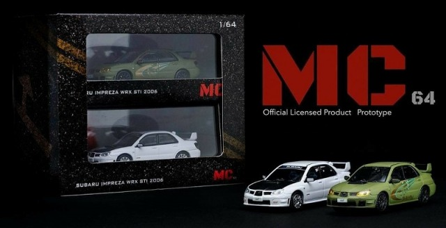 MC64 1/64 SUBARU Impreza WRX STI 2006 set (Matt Green / White with Carbon bonnet) 限定600セット