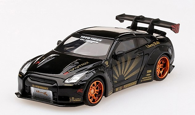 [MINI GT] 1/64 LB☆WORKS Nissan GT-R R35 タイプ1 リアウイング バージョン 1+2 ブラック 右ハンドル