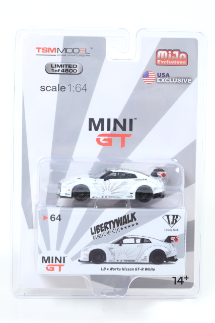 MINI GT 1/64 LB Works Nissan GT-R R35 Type 1,Rear Wing Ver.1+2, White USA Excsulive