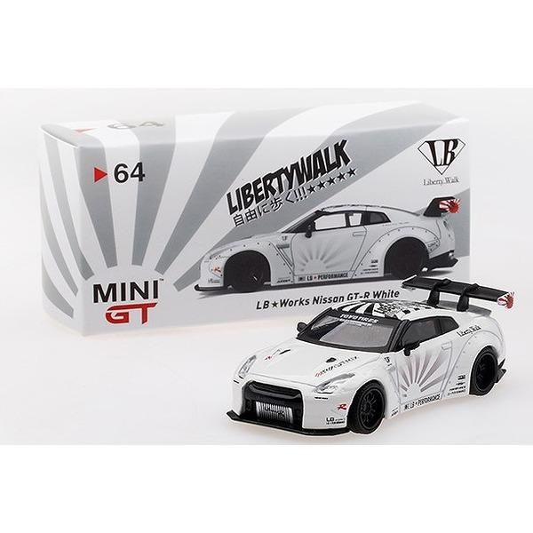 【MINI GT】 1/64 LB★WORKS Nissan GT-R (R35) Type 1 , Rear Wing ver 1+2 White RHD