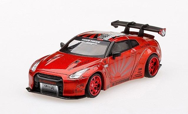MINI GT 1/64 LB★WORKS 日産 GT-R R35 タイプ1 リアウイング バージョン 1+2 キャンディレッド 右ハンドル