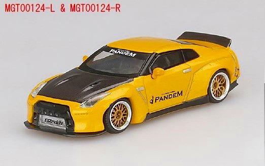 MINI GT 1/64 Pandem Nissan GT-R R35 ダックテイル クテイルメタリックイエロー/カーボン(右ハンドル)