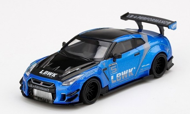 MINI GT 1/64 LB WORKS Nissan GT-R (R35) Blue, LB Work Livery 2.0