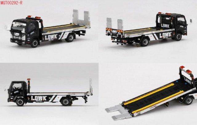 <予約 2021/12月発売予定> MINI GT 1/64 Isuzu Nシリーズ(ELF) 車両積載車 LBWK ブラック(右ハンドル)