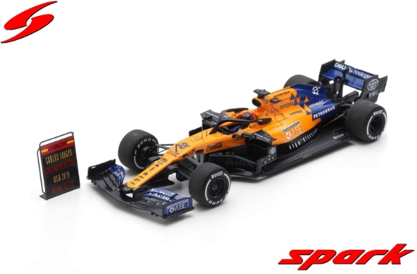 spark 1/43 MCLAREN F1 TEAM NO.55 USA GP 2019 FORMULA ONE 100TH GP MCLAREN MCL34 CARLOS SAINZ JR. WITH PIT BOARD
